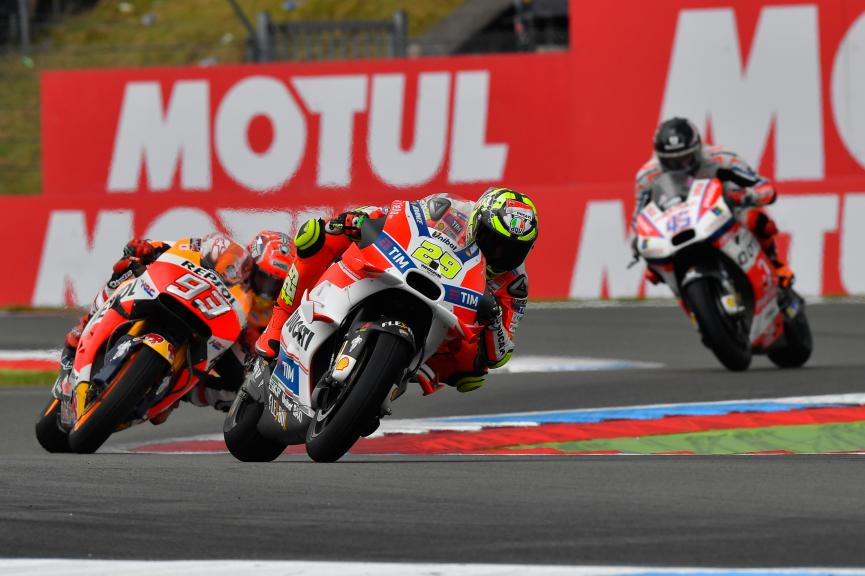 Andrea Iannone, Ducati Team and Marc Marquez, Repsol Honda Team, Motul TT Assen