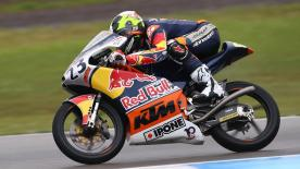 In desperately slippery conditions pole man Raúl Fernández won a shortened Race 1 at Assen.