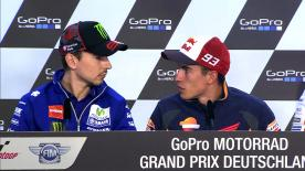 Marc Márquez et Jorge Lorenzo ont commenté la bagarre qu'ils se livrent en tête du Championnat durant la conférence de presse du #GermanGP.