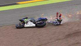 During FP1 at the German GP Jorge Lorenzo and Stefan Bradl crashed within seconds of each other at the tricky turn 11.