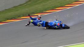 Check out Maverick Viñales' crash at the Sachsenring's rapid Turn 11 during FP2 on Friday at the German GP.