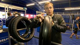 Pit-lane reporter Dylan Gray takes a look at the construction of Michelin's brand new asymmetric front tyre and how it compares to the rest.