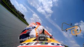 Relive Marquez's pole setting lap at the Sachsenring, complete with telemetry data.