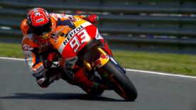 Marc Marquez secured his seventh consecutive pole position at the Sachsenring ahead of Hector Barbera and Valentino Rossi.