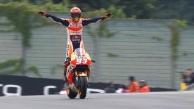 Marc Marquez won in the wet by 9.8s at the German GP after timing his tyre swap to perfection, ahead of Cal Crutchlow and Andrea Dovizioso.