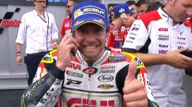 Cal Crutchlow rode a brilliant race in the wet at the Sachsenring to record his first podium since the Argentina GP in 2015.
