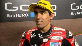 Simon è terzo sul podio dopo la difficile gara tedesca.