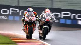 Some of the best Moto2 & Moto3 overtaking moves from the weekend at the #GermanGP.  1. Maria Herera (Moto3) - 66 points 2. Fabio di Giannantonio (Moto3) - 63 points 3. Isaac Viñales (Moto2) - 61 points 4. Hafizh Syahrin (Moto2) - 61 points 5. Mattia Pasini (Moto2) - 53 points