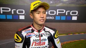 Il pilota Honda Team si conferma re del bagnato. Vince la sua seconda gara sotto la pioggia e, con un vantaggio consistente, non smette di spingere.