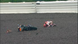 Marc Marquez crashes out at Turn 8 during MotoGP Warm Up practice.