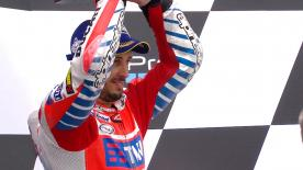 Andrea Dovizioso's late charge to third in the German GP saw the Italian record Ducati's 100th premier class podium.