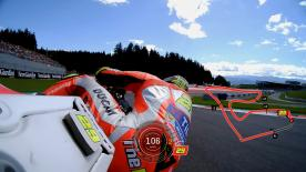 Relive Iannone's pole setting lap at the Red Bull Ring, complete with telemetry data.