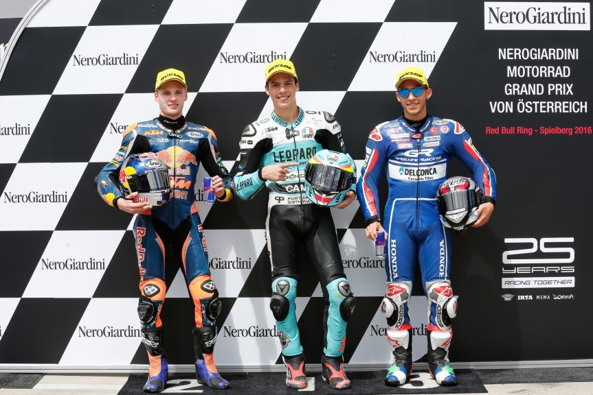 Joan Mir, Brad Binder, Enea Bastianini, NeroGiardini Motorrad Grand Prix von Österreic