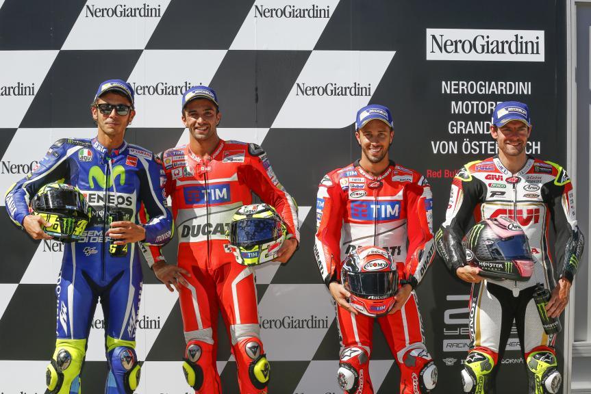 Valentino Rossi, Andrea Iannone, Andrea Dovizioso, Cal Crutchlow, NeroGiardini Motorrad Grand Prix von Österreich