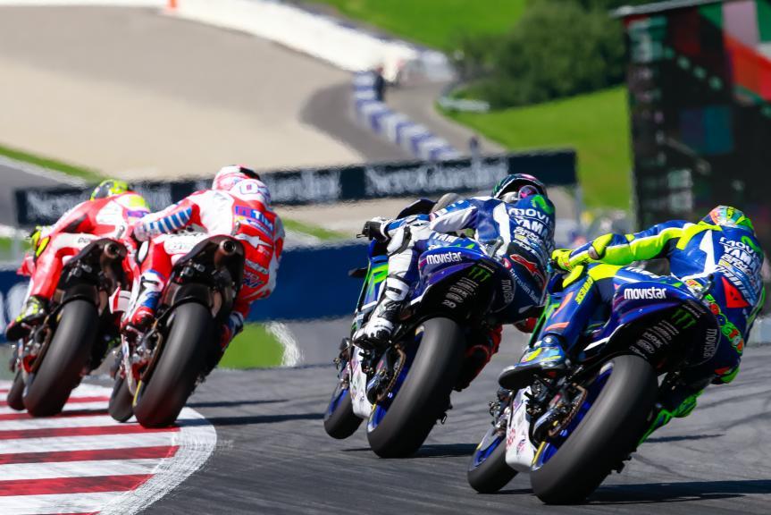 Andrea Iannone, Andrea Dovizioso, Jorge Lorenzo, Valentino Rossi, NeroGiardini Motorrad Grand Prix von Österreich