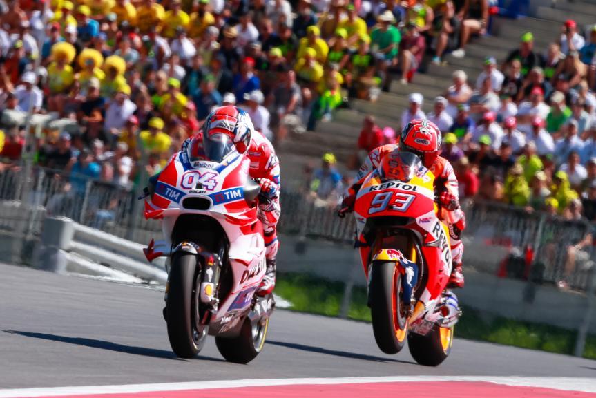 Andrea Dovizioso, Marc Marquez, NeroGiardini Motorrad Grand Prix von Österreich