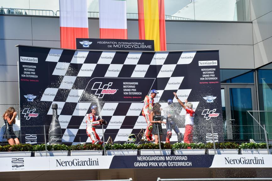 Andrea Iannone, Andrea Dovizioso, Jorge Lorenzo, NeroGiardini Motorrad Grand Prix von Österreich