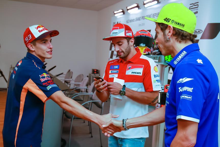 Marc Marquez, Andrea Iannone, Valentino Rossi, HJC Helmets Grand Prix České republiky