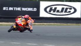 The Repsol Honda rider makes a truly spectacular save at turn 13 during FP2 at the #CzechGP.