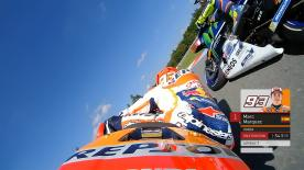 Relive Marquez's pole setting lap at the Automotodrom Brno, complete with telemetry data.