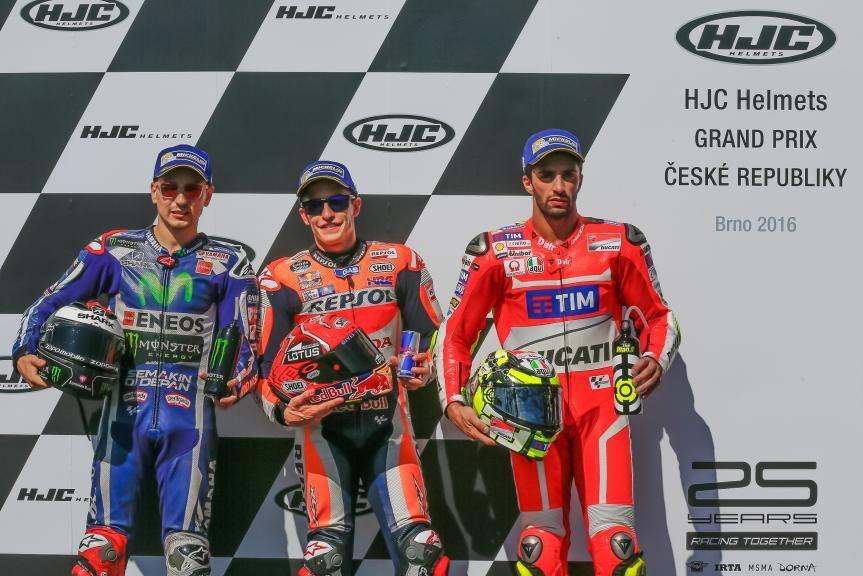 Jorge Lorenzo, Marc Marquez, Andrea Iannone, HJC Helmets Grand Prix České republiky