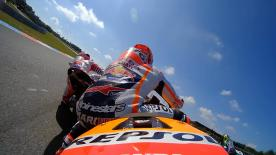 Watch how Marquez narrowly avoids Dovizioso, spots Rossi & heads in to his record-breaking pole lap of Brno.