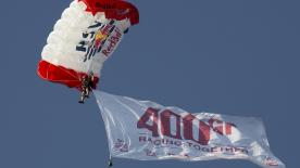 The MotoGP™ paddock celebrate the 400th Grand Prix of the FIM, IRTA, MSMA and Dorna collaboration with the help of some skydivers!