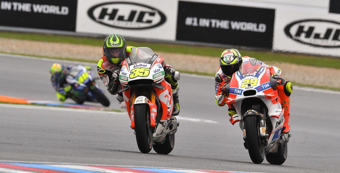 Cal Crutchlow, LCR Honda and Andrea Iannone, Ducati Team, HJC Helmets Grand Prix České republiky