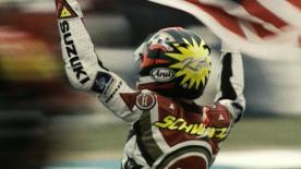 Donington '94 saw Kevin Schwantz become the first rider ever to use a 16,5-inch slick rear tyre in Grand Prix racing