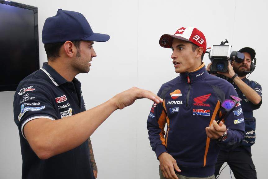 Hector Barbera, Avintia Racing and Marc Marquez, Repsol Honda Team, Octo British Grand Prix