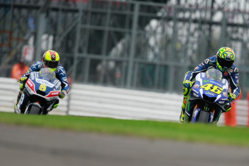 Valentino Rossi, Movistar Yamaha MotoGP and Hector Barbera, Avintia Racing, Octo British Grand Prix