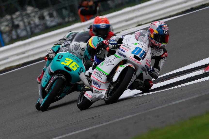 Jorge Martin, ASPAR Mahindra Team Moto3 and Joan Mir, Leopard Racing, Octo British Grand Prix