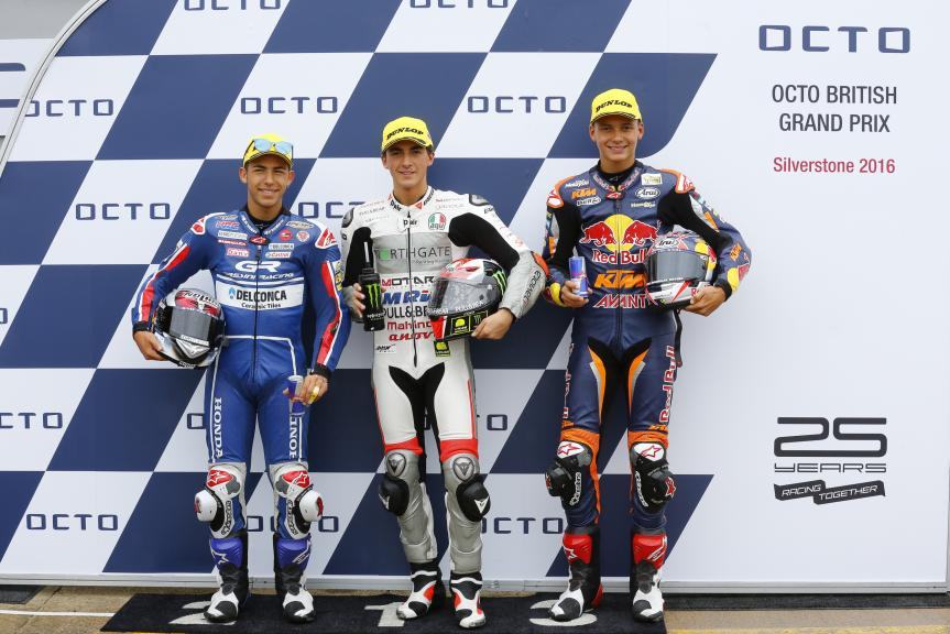 Francesco Bagnaia, Enea Bastianini, Bo Bendsneyder, Octo British Grand Prix