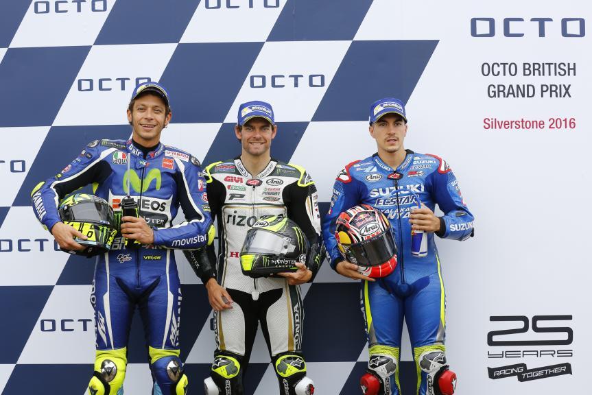 Cal Crutchlow, Valentino Rossi, Maverick Viñales, Octo British Grand Prix