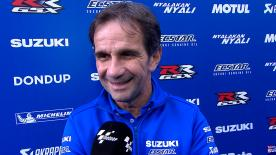 Suzuki Ecstar Team Manager celebrates Suzuki's first victory since the manufacturer returned to MotoGP in 2015