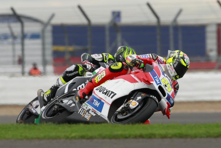 Andrea Iannone, Ducati Team and Cal Crutchlow, LCR Honda, Octo British Grand Prix