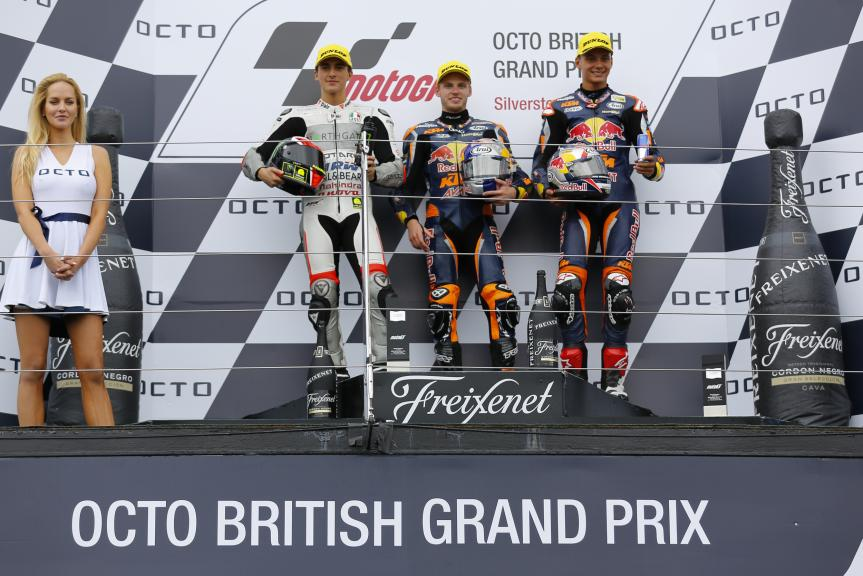 Brad Binder, Francesco Bagnaia, Bo Bendsneyder,  Octo British Grand Prix