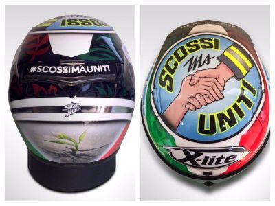-My special livery helmet for Misano dedicated to Italy and earthquake victims.  #shakedbutunited https://t.co/71V7StYbi9
