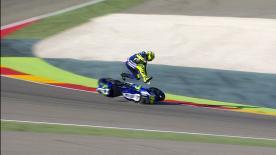 Nel sabato mattina di libere ad Aragon, Rossi cade nella esse tra le curve 9 e 10. Nulla di grave per il pilota Yamaha.