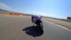 The MotoGP™ #ChaseCam captures the moment when Lorenzo takes 2nd from Rossi at the #AragonGP.