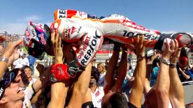 Honda rider extends championship advantage, with Jorge Lorenzo and Valentino Rossi also on the podium.