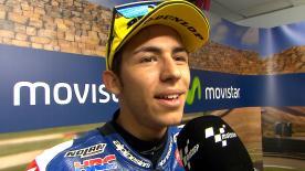 Ad Aragon Bastianini è terzo e ammette le difficoltà nel salire sul gradino più alto del podio.