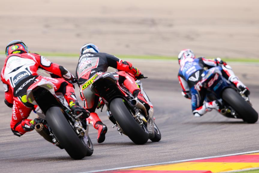 Xavier Simeon, QMMF Racing Team and Sandro Cortese, Dynavolt Intact GP, Gran Premio Movistar de Aragón