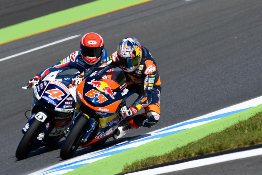 Bo Bendsneyder, Red Bull KTM Ajo and Fabio Di Giannantonio, Gresini Racing Moto3, Motul Grand Prix of Japan