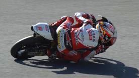 Il pilota Honda firma il primo tempo delle qualifiche ma è penalizzato. Migno partirà al palo con Bulega e Dalla Porta in seconda fila.