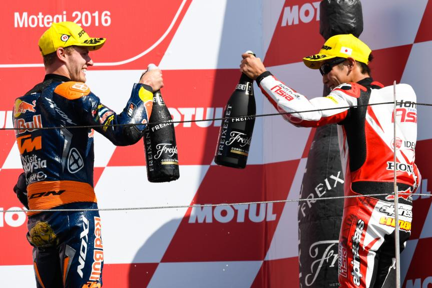 Hiroki Ono, Honda Team Asia and Brad Binder, Red Bull KTM Ajo, Motul Grand Prix of Japan
