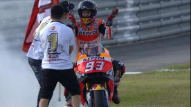 Repsol Honda's Marc Marquez claimed his third MotoGP™ world title with victory in Japan, after Valentino Rossi and Jorge Lorenzo crashed out