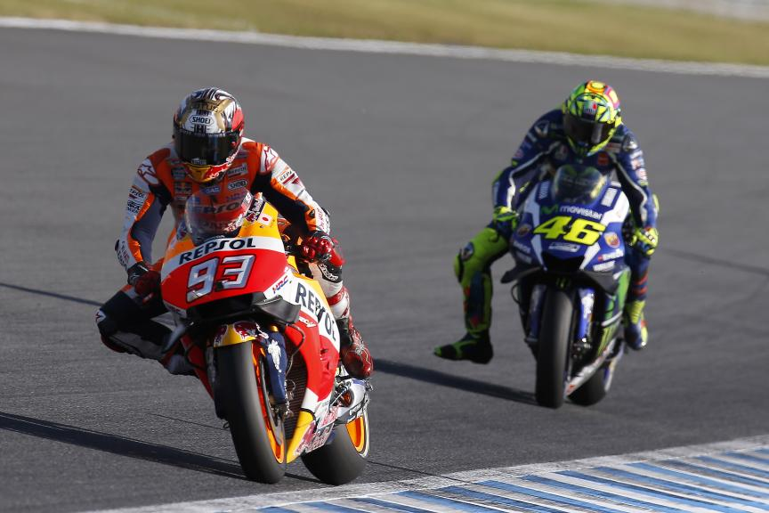 Marc Marquez, Repsol Honda Team and Valentino Rossi, Movistar Yamaha MotoGP, Octo British Grand Prix