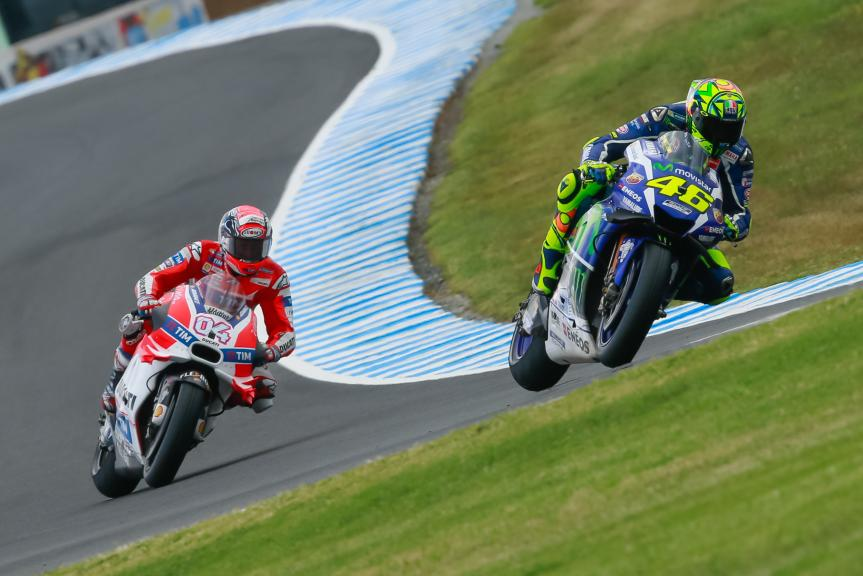 Andrea Dovizioso, Ducati Team and Valentino Rossi, Movistar Yamaha MotoGP, Michelin® Australian Motorcycle Grand Prix