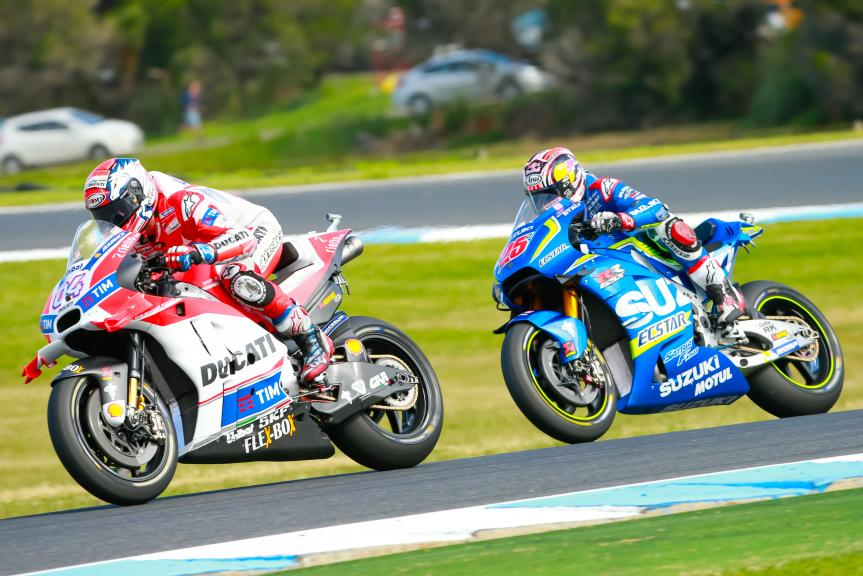 Andrea Dovizioso, Ducati Team and Maverick Viñales, Team SUZUKI ECSTAR, Michelin® Australian Motorcycle Grand Prix